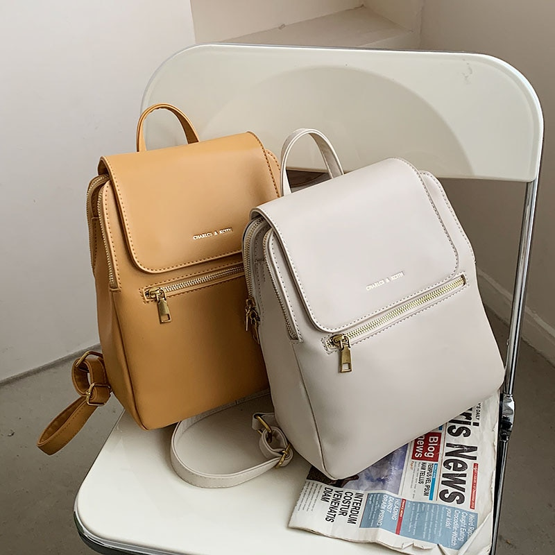 Luxury Designer High Quality PU Leather Women Backpack Fashion Letter Design Ladies Travel Backpack Solid Color Women's Bag Sac luxury brand monogram backpack bag women classic fashion designer mini bag high quality real leather cute small backpack 15cm