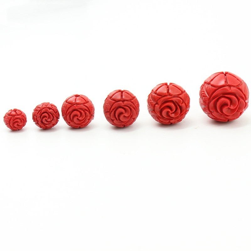 10 teile/los Natürliche Rot Cinnabars Perlen 8 10 12 14 16mm Geschnitzte Rose Blume Charm Bead Fit DIY Armband schmuck Machen Lieferant