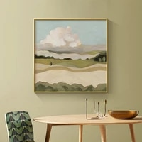 canvas painting green wilderness landscape modern style square poster living room wall art decorative painting abstract picture