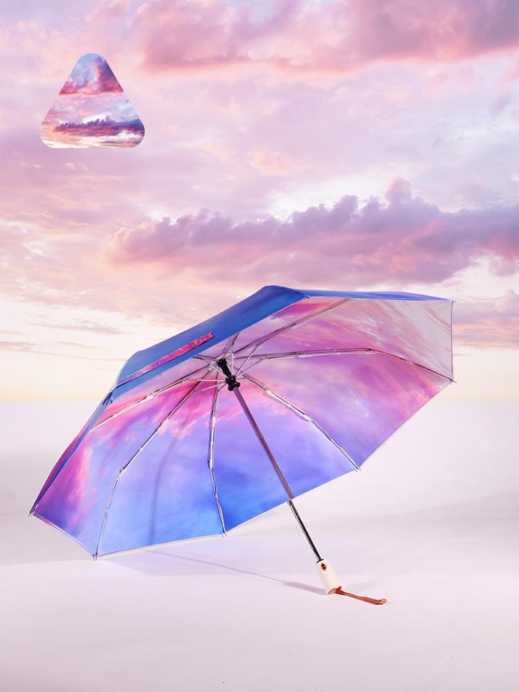 Decoration Umbrella Female UV Protection Fully Automatic Shrink Pretty Umbrella Folding Simple Sombrilla Home Garden AG50ZS enlarge