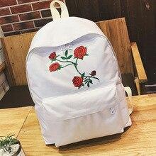HISUELY Harajuku Rose broderie sac à dos blanc noir femmes voyage sac à dos étudiants toile Double sac à bandoulière Style Collenge
