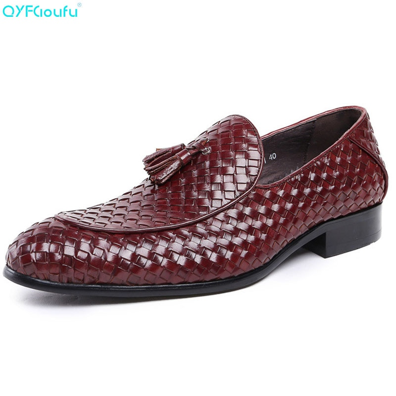 QYFCIOUFU de lujo de marca de cuero genuino de moda de los hombres de negocios vestido tejido zapatos Oxford transpirable Formal borla zapatos de boda