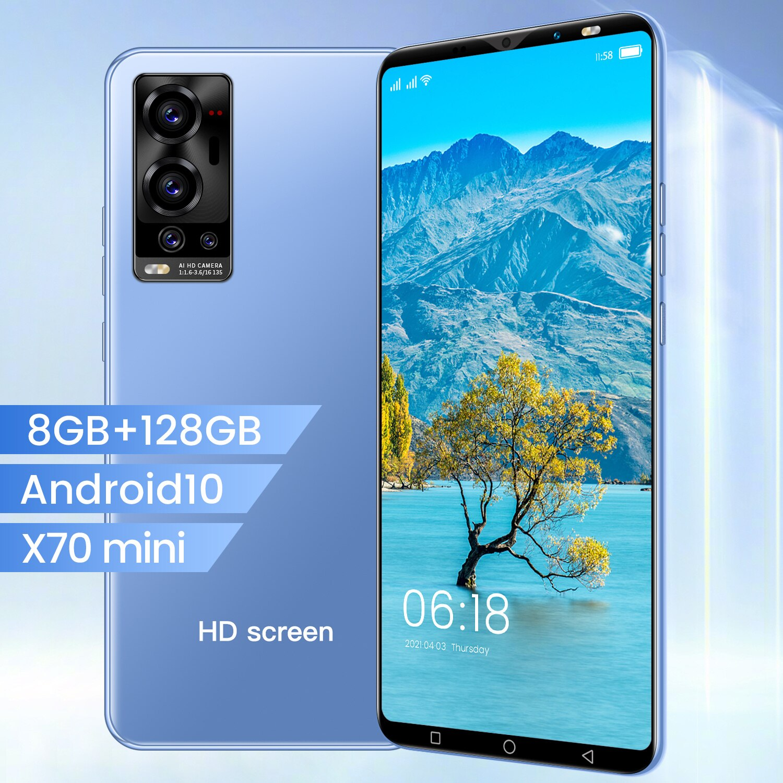 X70 هاتف ذكي صغير 5.1 بوصة 1080*2320 5g Mtk6889 10 Core 8gb + 128gb 24mp + 48mp 4800mah Andriod 10.0 المزدوج سيم معرف الوجه