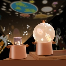 Starry Sky Projector Night Light Music Box Angle LED Lamp Chargeable Rotate Universe Ocaen Colorful