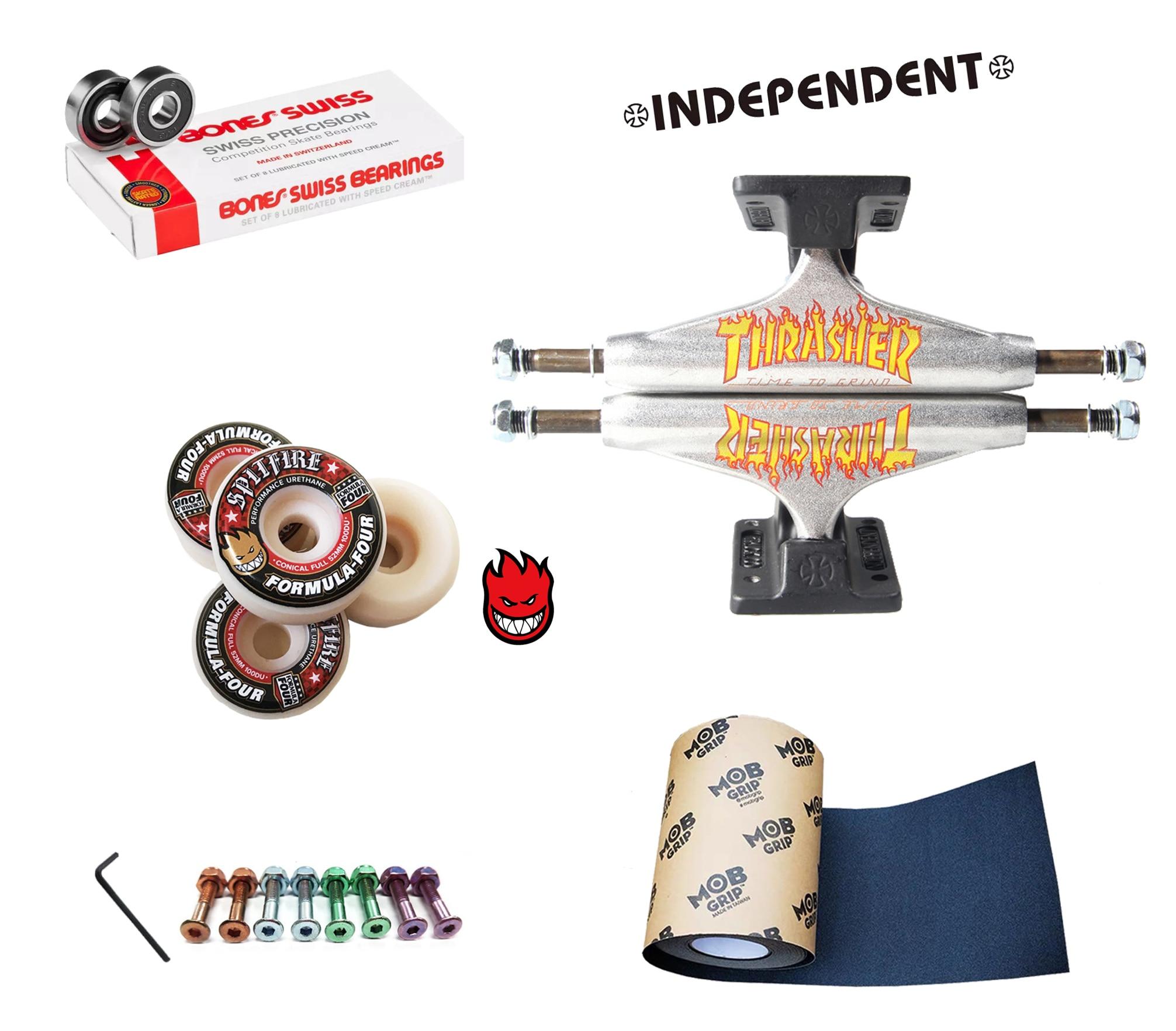 Monopatín indexable, camisetas spitfire, ruedas de monopatín, buenos rodamientos genuinos, MOB grip cinta de nivel profesional