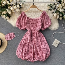 Yitimoky Boho Floral High Waist Midi Dresses for Women 2021 Puff Sleeve Square Collar Red Zipper A-L