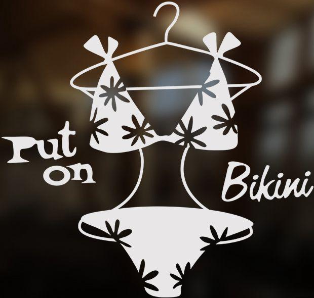 Lencería Sexy bikini ropa interior tienda de ropa mujer ropa ventana de vidrio de la tienda pegatinas de pared de cristal