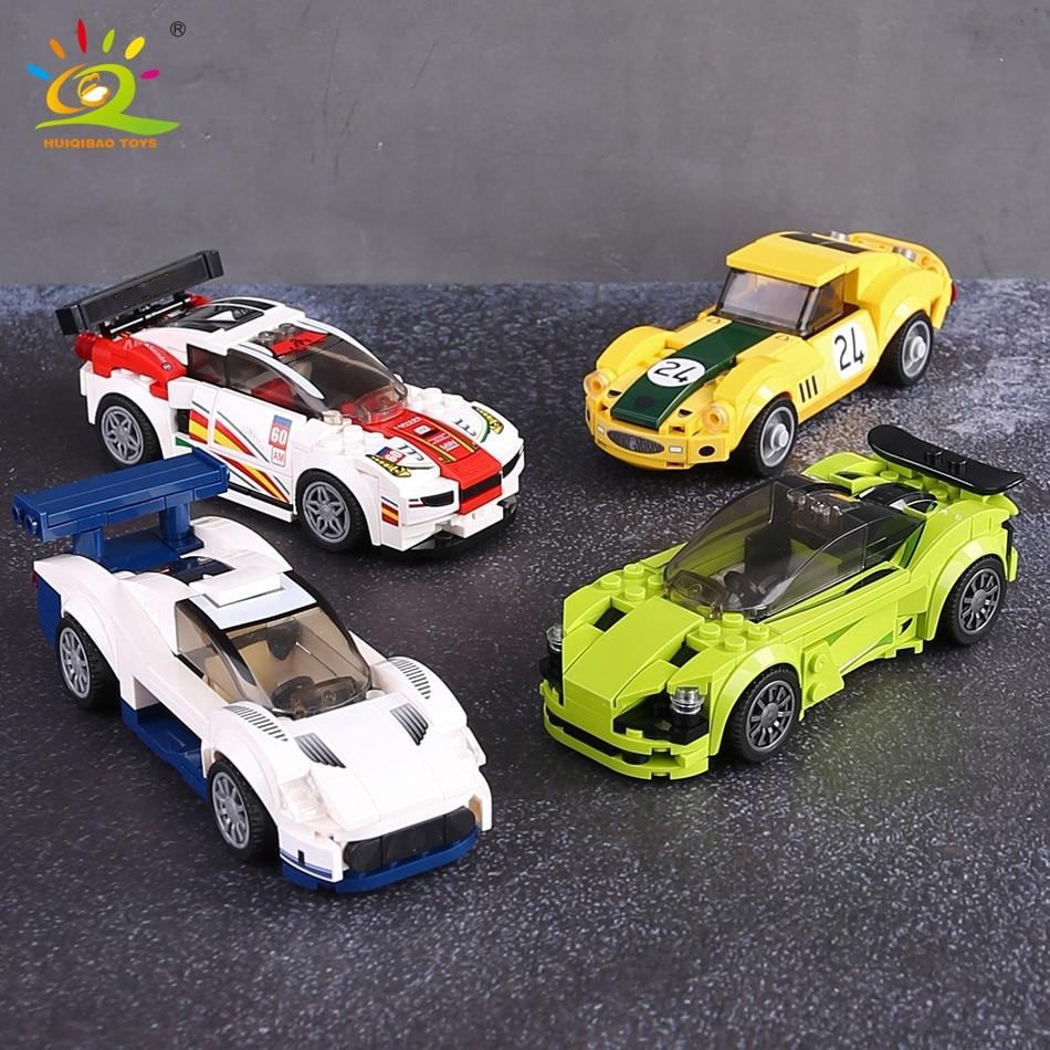 HUIQIBAO Stadt Super Racers Modell bausteine geschwindigkeit Champions Racing Sport Auto Ziegel bau Spielzeug Für Kinder Geschenk