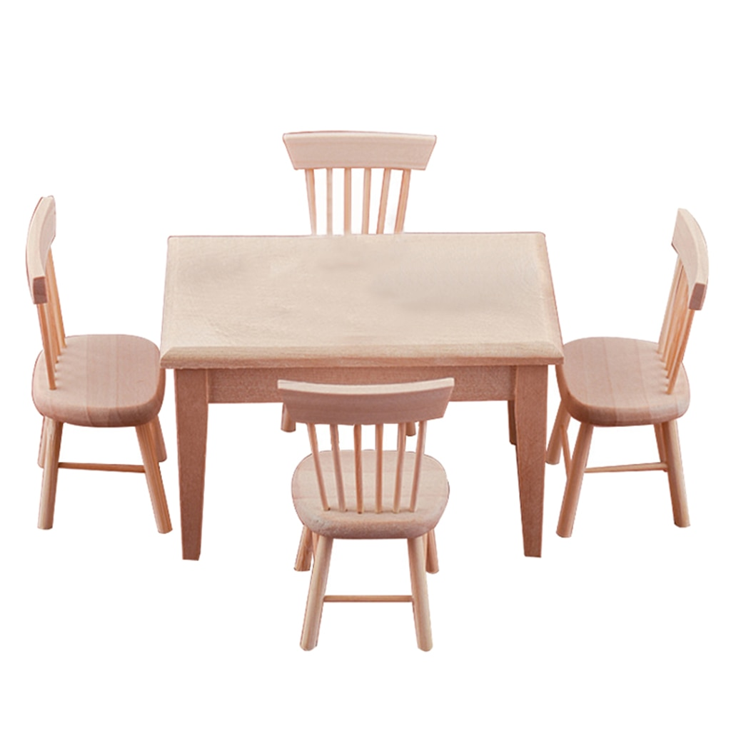 Miniature Dining Table + 4 Chairs Doll Furniture Set for 1/12 Dollhouse Dining Room 5pcs dining chair set 4 chairs 1 dining table set wooden metal furniture brown black beige home kitchen office furniture