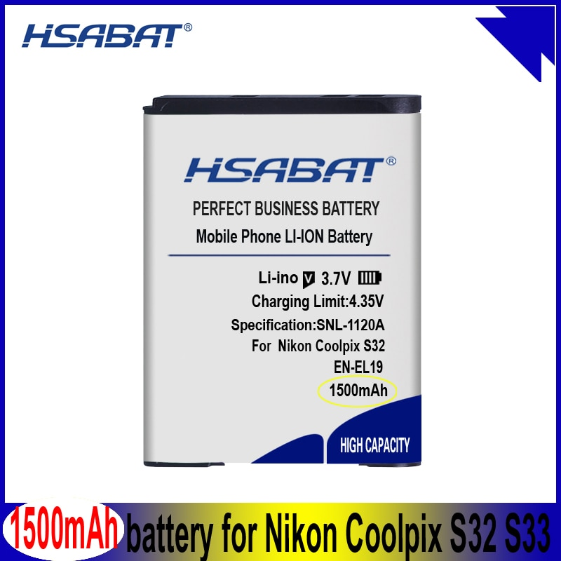 EN-EL19 1500mAh Bateria para Nikon Coolpix S32 S33 S100 S2500 S2750 S3100 S3200 S3300 S3400 S3500 S4100 S4150 S4200 Baterias