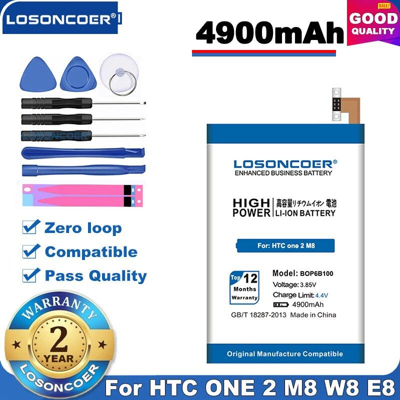 100% Original LOSONCOER 4900mAh BOP6B100 batería para HTC One 2 M8 batería E8 M8x One2 W8 M8T M8W M8D M8SW M8ST M8SD + Plus
