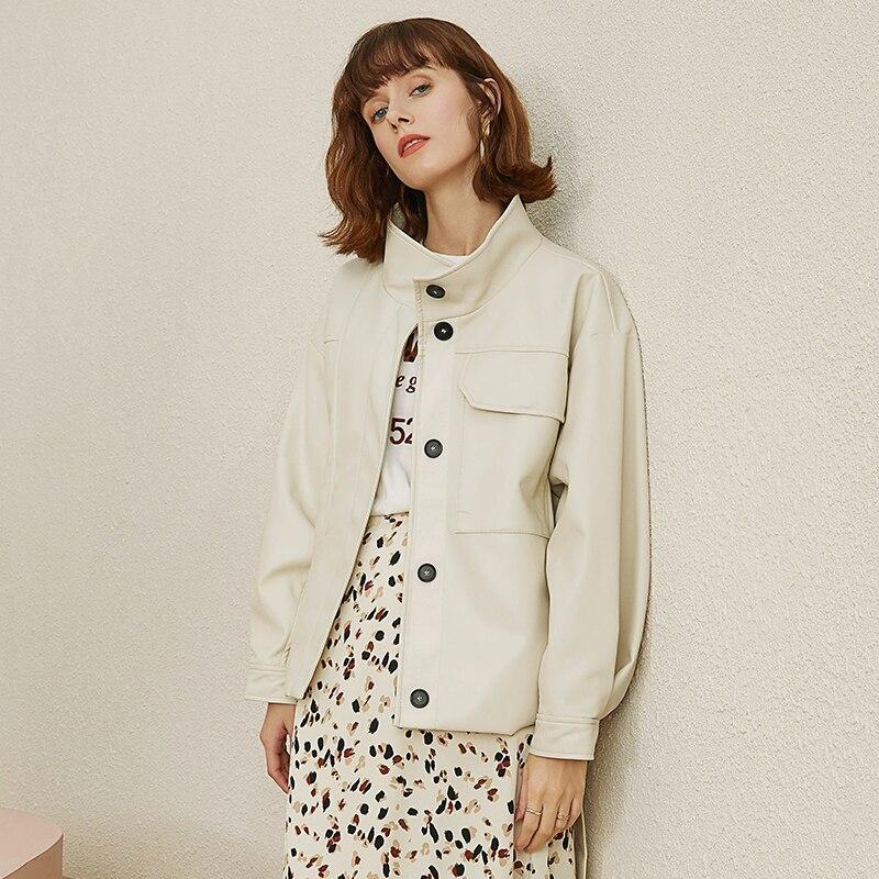 Lautaro surdimensionné bouton up simili cuir chemise femmes ceinture col montant à manches longues noir blanc grande taille veste en cuir femmes