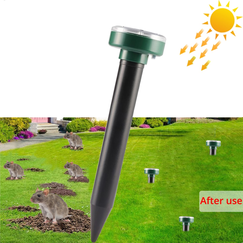 1Pcs Solar Powered Ultrasonic Sonic Mouse Mole Pest Rodent Repeller Repellent Yard LED Light Repeller Outdoor Lamp Yard Garden