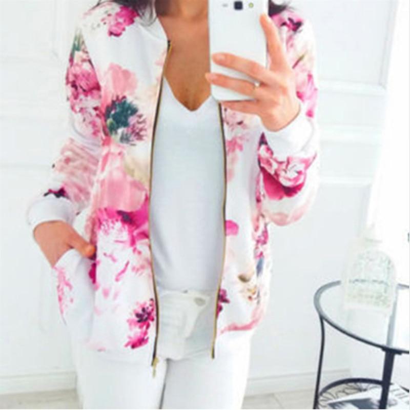 Print Bomber Jacket Women Flowers Zipper Up Retro Coat Spring 2019 Autumn Long Sleeve Basic Plus Size Short Biker Jackets Female