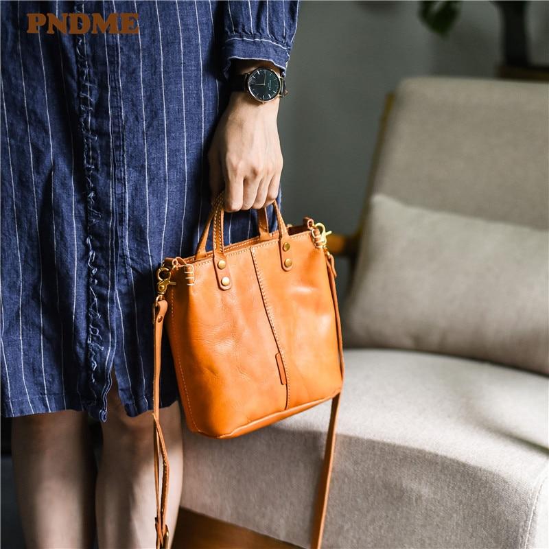 PNDME fashion vintage genuine leather ladies small handbag casual simple natural real cowhide women's shoulder messenger bag