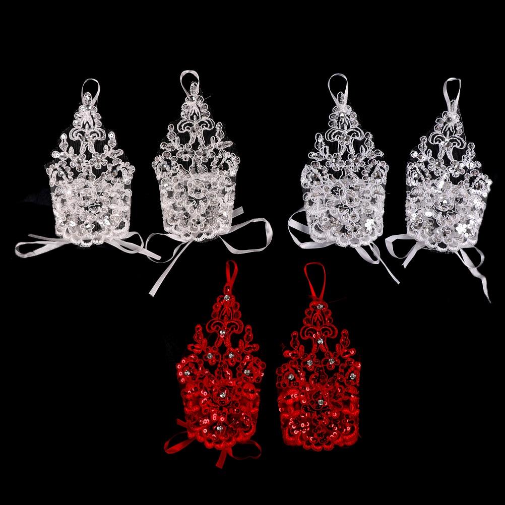 1 paar 2 stijlen wit / rood / beige bruidshandschoenen elegante korte - Bruiloft accessoires - Foto 5