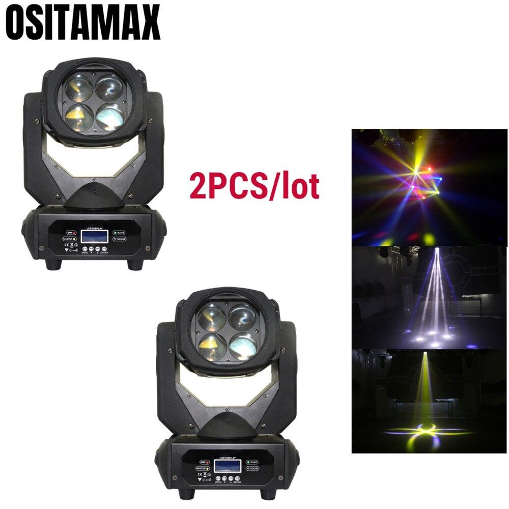 2 uds Lira LED RGBW Mini haz de luz con cabezal móvil efecto escenario 4x25w DMX512 Control de alta potencia para discoteca fiesta de Navidad DJ boda