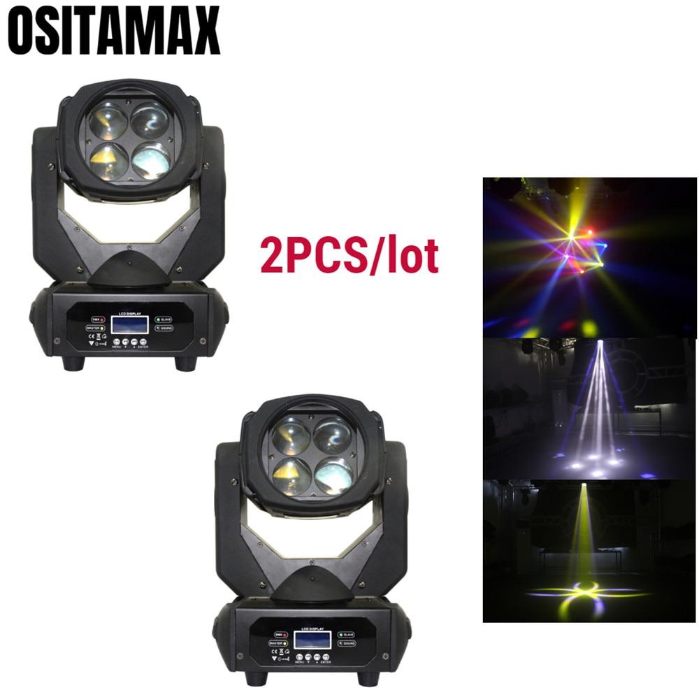 2PCS Lyre LED RGBW Mini Beam Moving Head Light Stage Effect 4x25w DMX512 Control High Power for Disco Christmas Party DJ Wedding