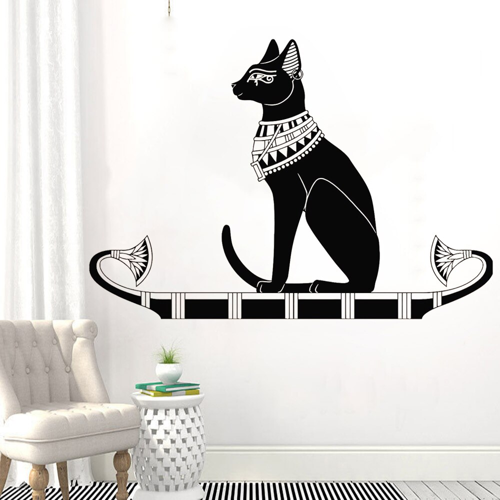 Calcomanía de vinilo para pared Antiguo Egipto gato egipcio Dios Bastet pegatinas de pared decoración del hogar Accesorios para la sala de estar dormitorio Z008