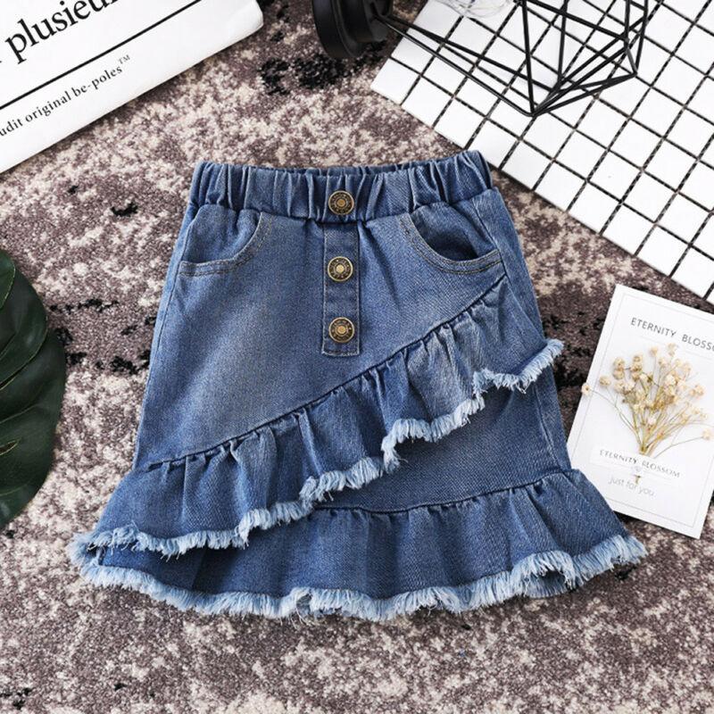 Продавец США, синяя джинсовая мини-юбка для маленьких девочек, короткое платье, Повседневная джинсовая юбка