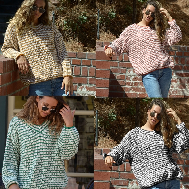 Women Winter Autumn V-Neck Knitted Sweater Casual Long Sleeve Stripe Pullover enlarge
