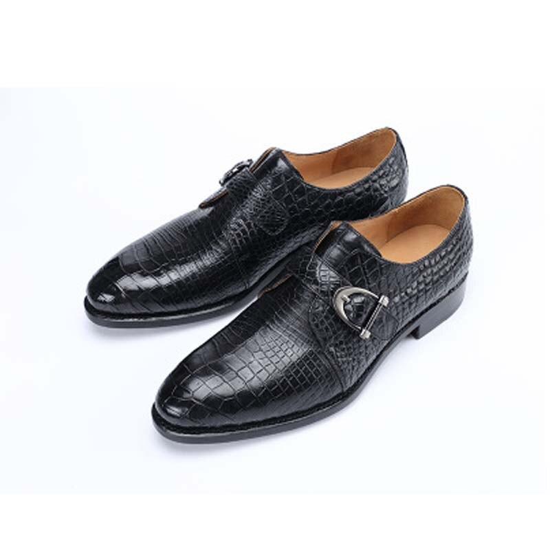 Hujingsha-أحذية جلد التمساح للرجال ، أحذية رسمية ، جلد طبيعي ، بيع بالجملة
