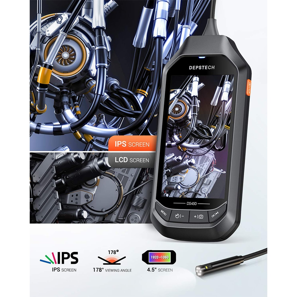 DEPSTECH Dual Lens DS450  4.5in IPS Screen Digital Endoscope Waterproof Inspection Camera with 6 Adjustable LED Lights Borescope
