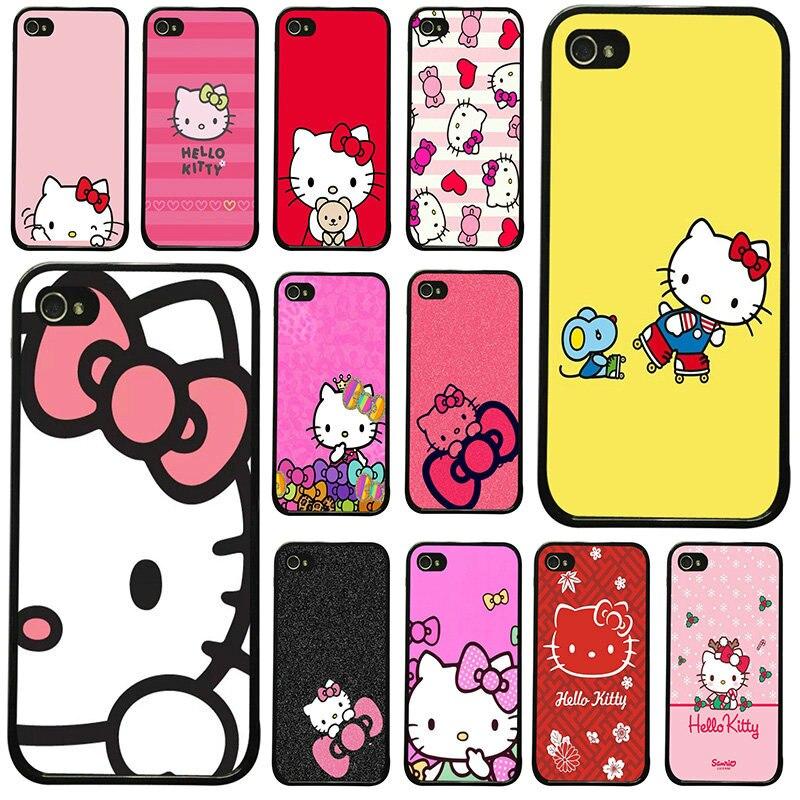 Bonito anime gato olá kitty celular casos capa de plástico duro para iphone 8 7 6s plus x xr xs 11 pro max 5S 5 se 4 4S caso