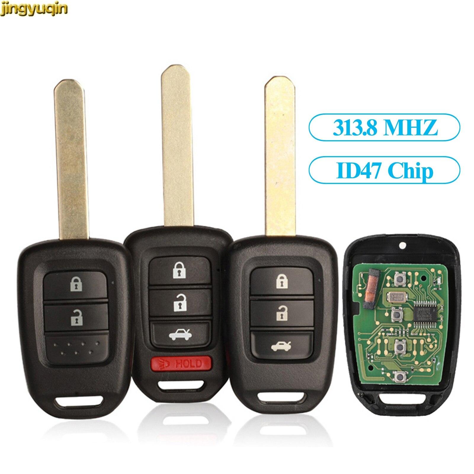 Jingyuqin controle remoto chave do carro 313.8mhz id47 chip keyless para honda accord 2013 2014 2015 2016 2017 MLBHLIK6-IL 2/3/4btn