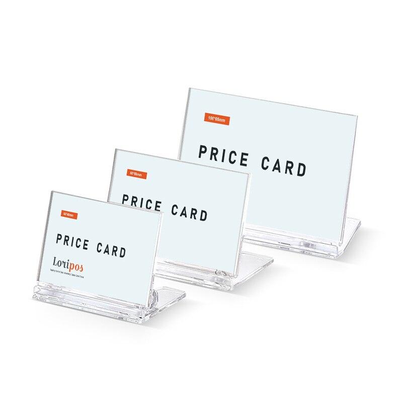 PS Card Label Holder Clear L-shape Desk Sign Holder Restaurant Menu Price Display Frame