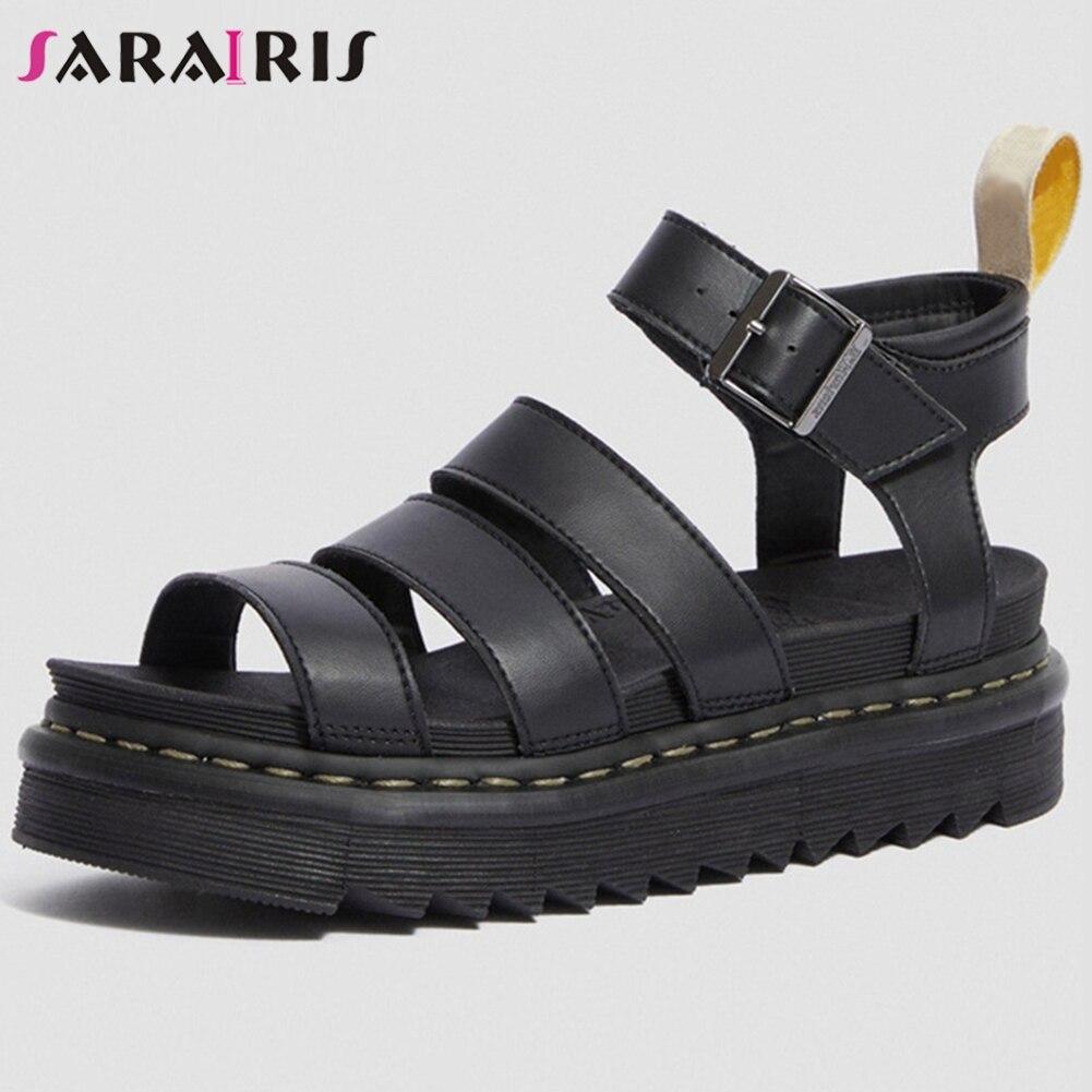 SARAIRIS, sandalias de plataforma de costura de marca de lujo para mujer, sandalias de gladiador de cuero Partido de verano para mujer, zapatos de pasarela 2020 para mujer