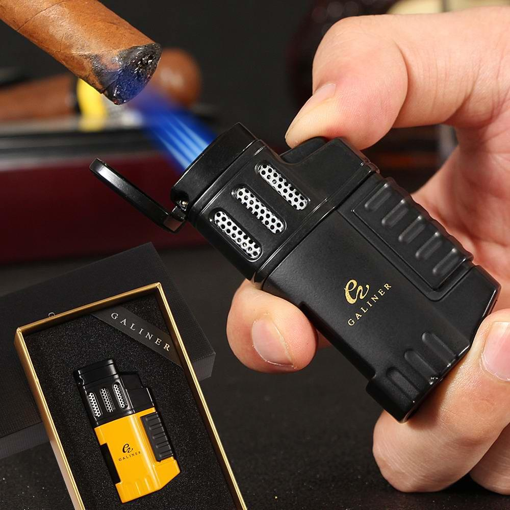 Plastic Lighters Windproof Jet Cigar Lighter Butane Refilling Cigarette Torch Lighter For COHIBA Cig