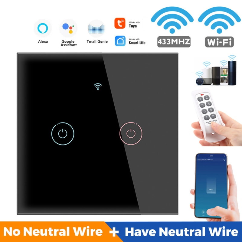 Tuya WiFi 433MHZ Smart Touch Switch Smart Home Wall Panel Timing Remote Control For Alexa Google Home Assistant No Hub Required