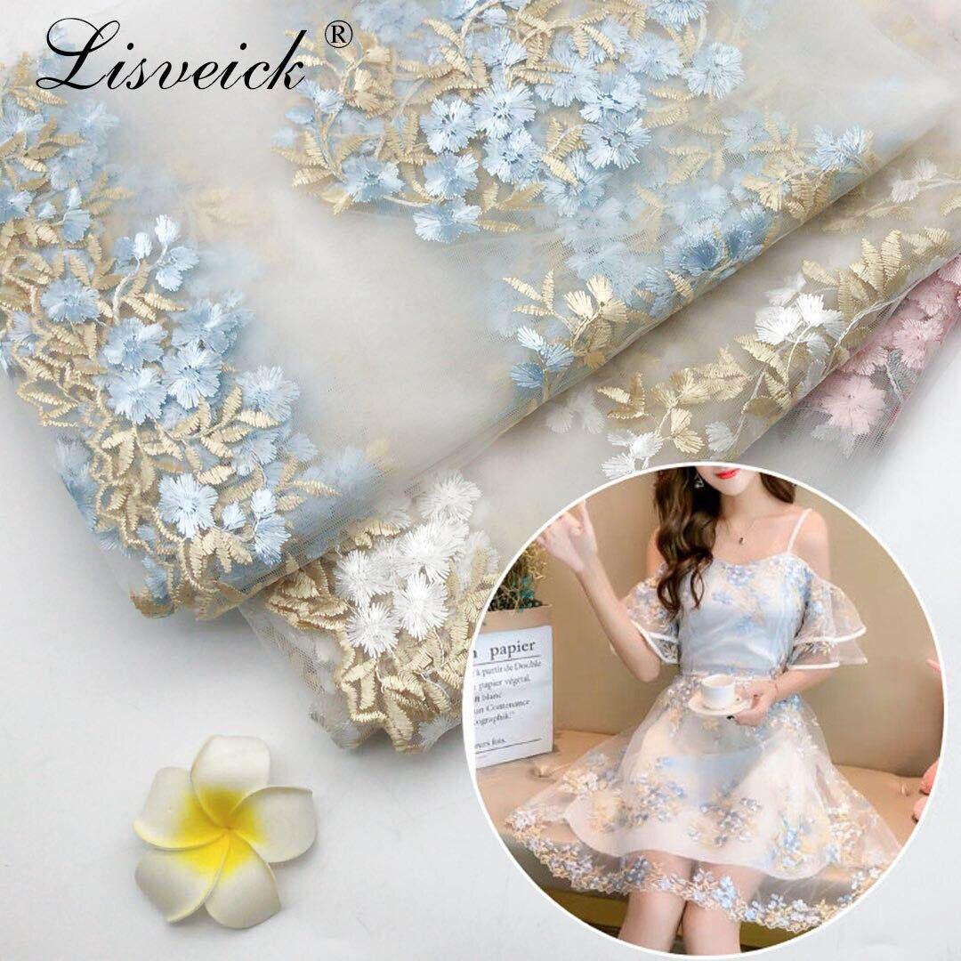 1 metro 130CM malla bordado Bilateral flor gasa tul tela de encaje para bebé falda de Tutu fiesta de boda Vestido de etapa Material DIY