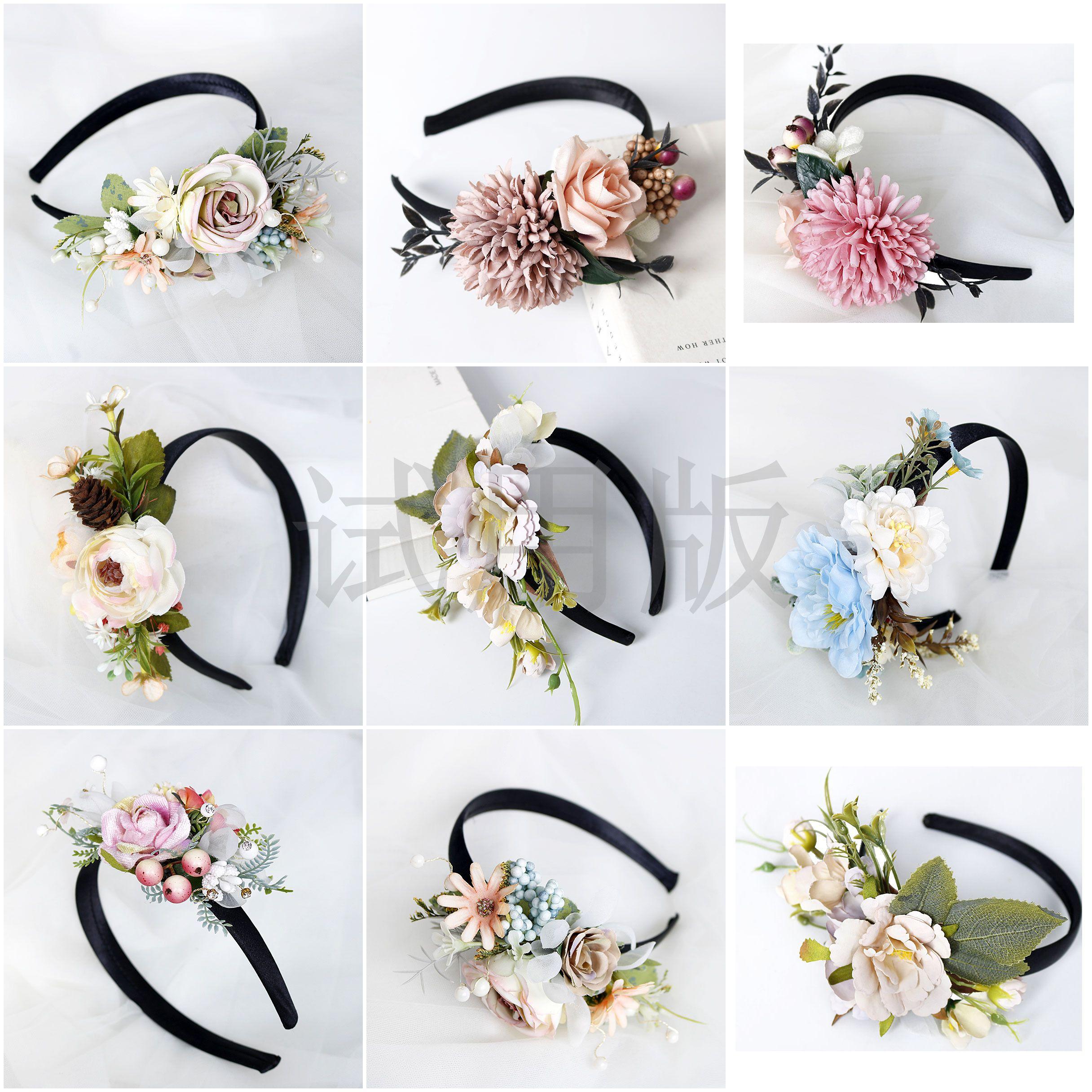 Новинка, ободок с широкими полями, обруч с цветами, розовый цветок, Национальный стиль, женский цветок подружки невесты, аксессуары для воло...