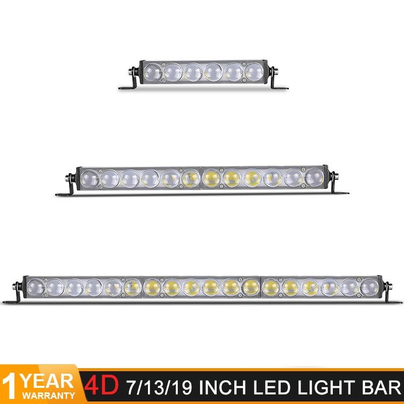 """Barra de luz LED delgada 4D fuera de la carretera 7 """"13"""" 19 pulgadas 18W 36W 54W luz enfocada de una sola fila de luces Led de trabajo de coche bar 12V 24V 6000K blanco"""