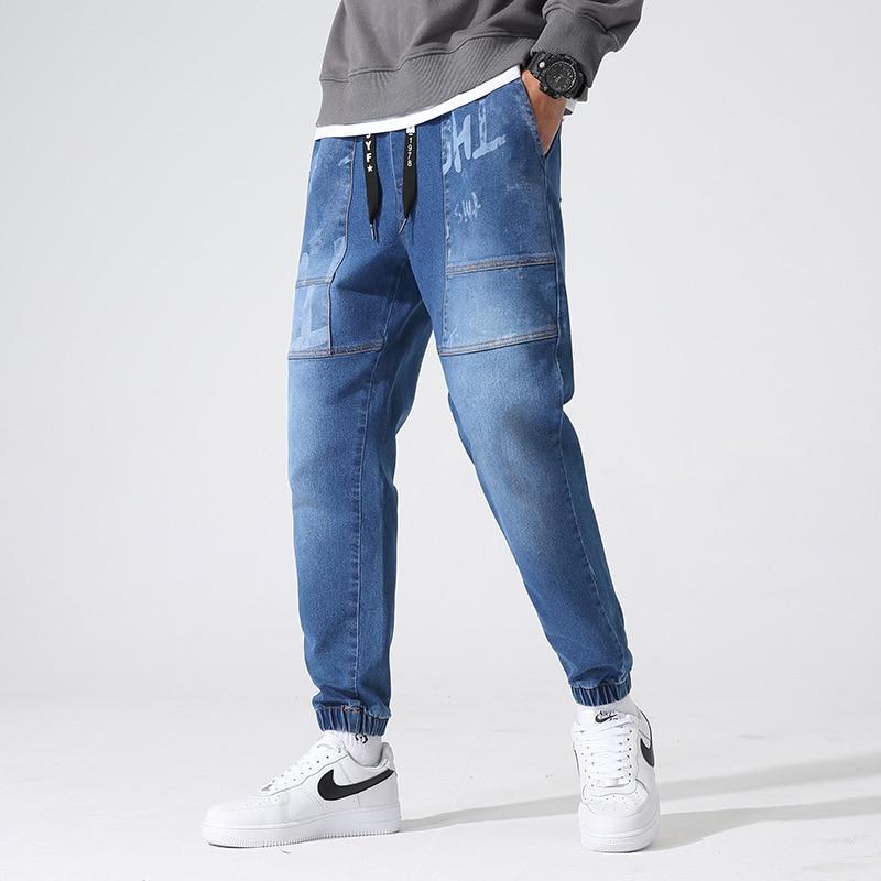 Джинсы мужские зауженные стрейчевые, повседневные брюки из денима, брюки-джоггеры, черные синие, размеры 8XL, весна-осень