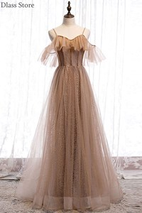 Champagne Evening Dress Spaghetti Strap A-line New Sweetheart Neck Floor Length Lace-up Prom Dresses платья знаменитостей