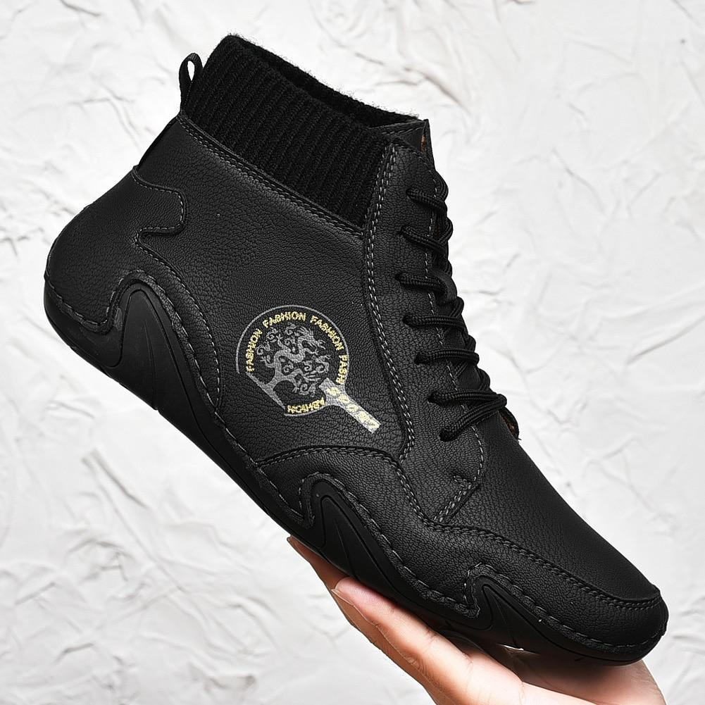 Brand Retro Walking Shoes Men's High-top Design Men's Shoes Leather Western Men Warm Fur Winter Casu
