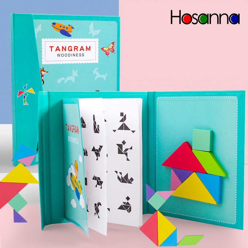 Magnetic Tangram Puzzle Book Portable Preschool Baby Kids Toys Intelligence Jigsaw Puzzle Wooden Edu