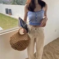 women vintage plaid knit camisoles spaghetti straps sleeveless buttons trim tank tops