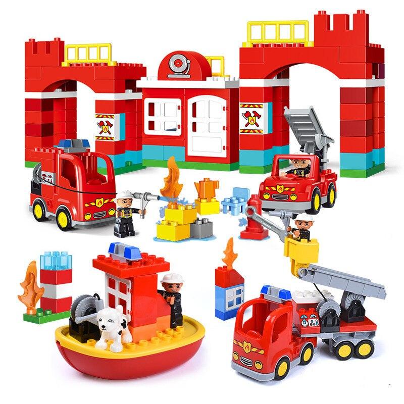 אש מחלקת המשטרה כבאים גדול גודל אבני בניין צעצועי תואם עיר Duplo לבנים DIY צעצועים לילדים מתנות