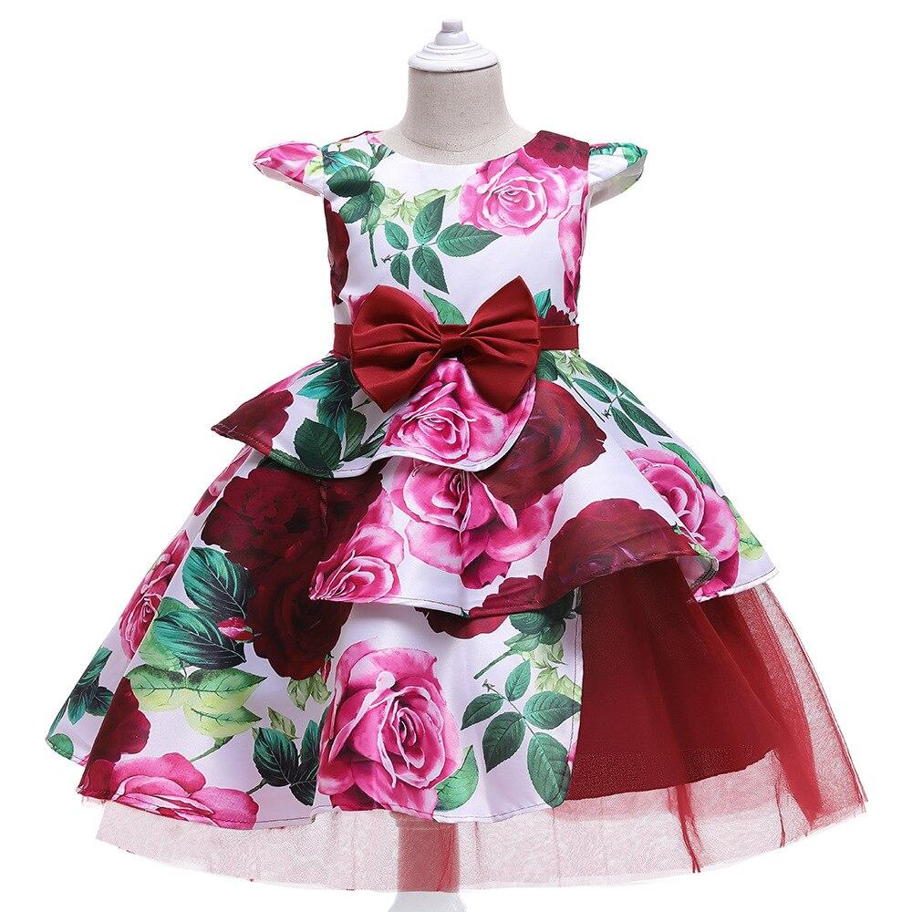 м мадера долина эдельвейсов и день рождения принцессы Детское платье принцессы, Элегантное повседневное праздничное платье с цветочным принтом, одежда для детей на Рождество, день рождения, сва...