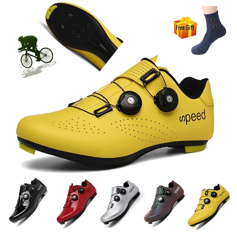 Zapatos de Ciclismo para Hombre, calzado deportivo profesional con autosujeción para bicicleta...