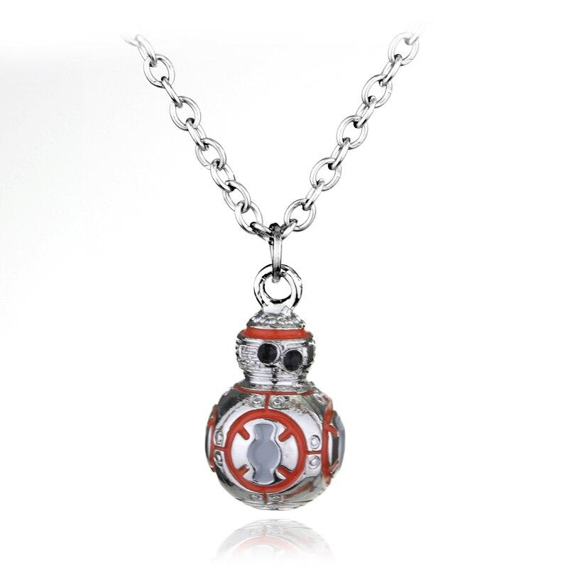 Estrela de filme guerras série colar collier força desperta 3d bb8 forma robô colar laranja esmalte pingente cristais