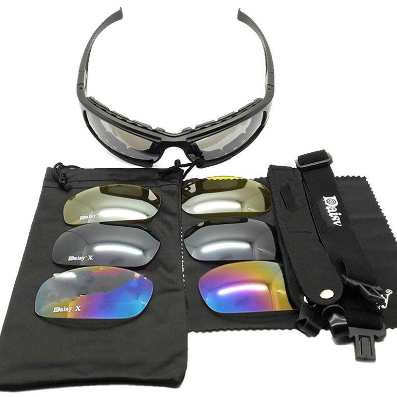 Nuevas gafas de sol tácticas Daisy X7 con protección UV400, gafas militares de caza, tiro, gafas Airsoft para actividades al aire libre, 4 lentes