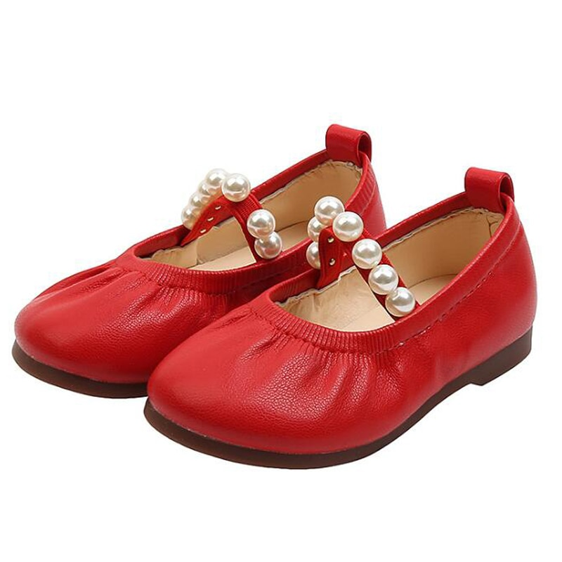 Girls Red Leather Shoes 2021 New Toddler Girl Children's Pearl Fashion Princess Shoes Kids Soft Flat Baby Beading PU Shoes Girl afdswg pu kids shoes girls fashion soft bottom princess shoes new bow leather shoes childrens shoes little girl shoes