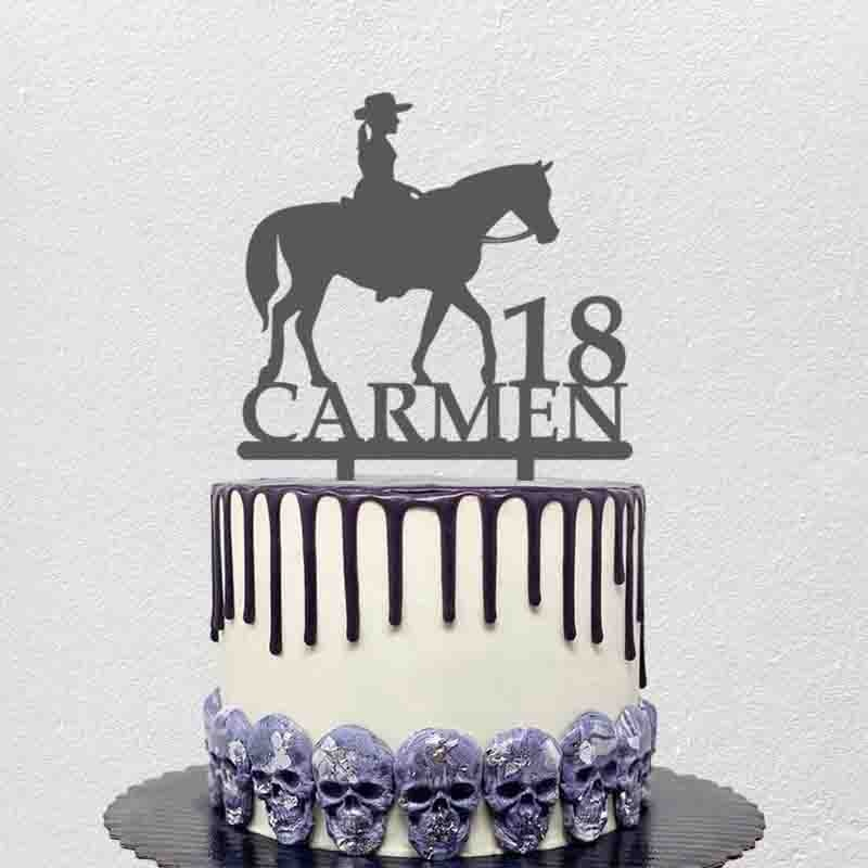 Personalized Birthday Cake Topper Custom Name Age Girl Riding Horse For Kids Birthday Party Cake Decoration Topper