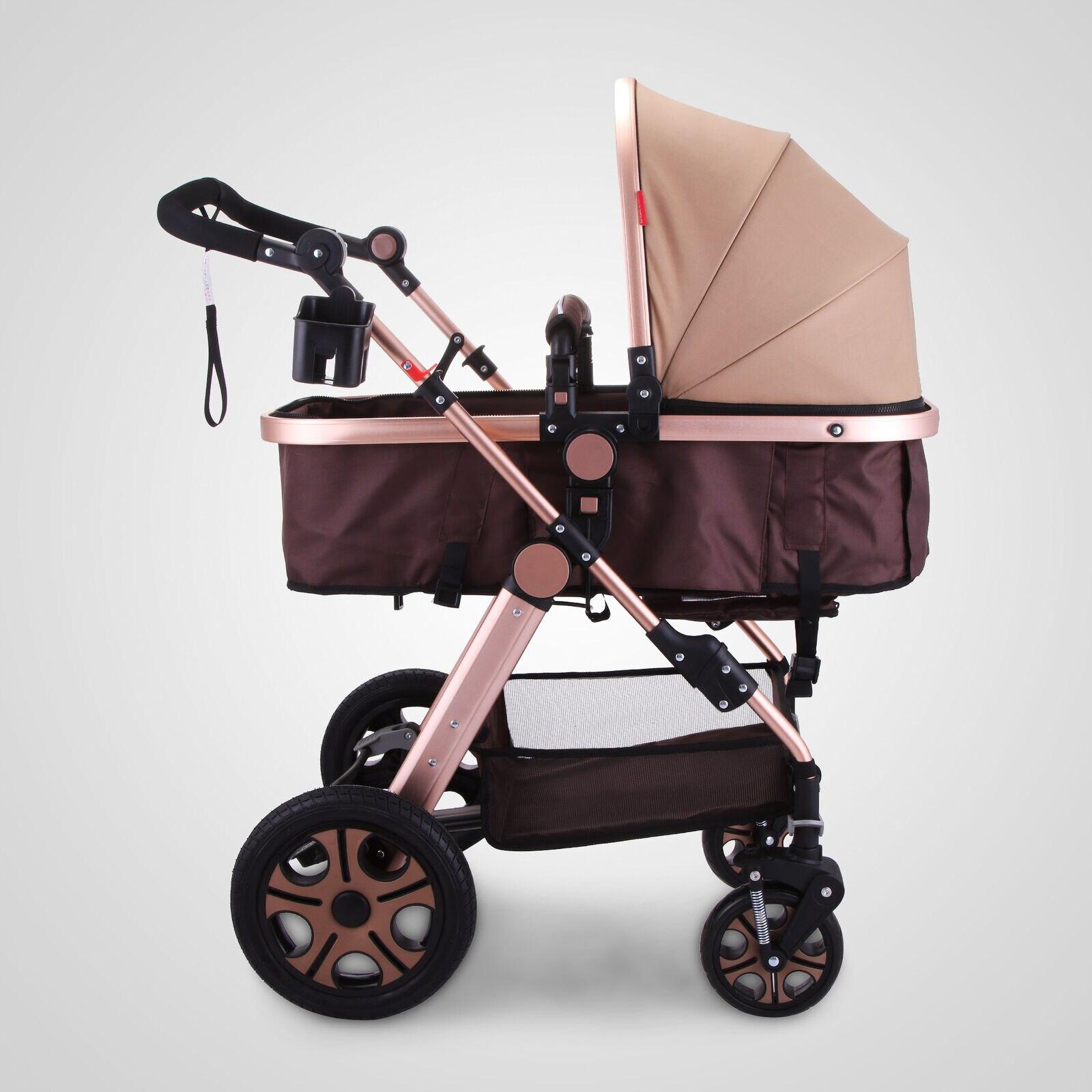 Carrinho de bebê 3 em 1 luxo dobrável carrinho de bebê recém-nascido com 3 posição recline