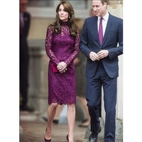 elegant lace purple mother of the bride dresses long sleeves applique mothers formal formal dress plus size knee length gown